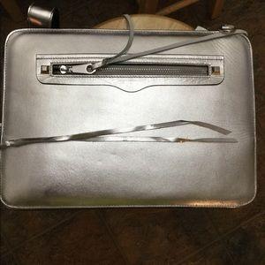Handbags - Rebecca Minkoff leather silver laptop/ipad case